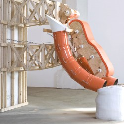 Drunken Body sculpture, 2007, construction materials, fabric, sand bags, variable dimensions, photographer: Shaune McDowell